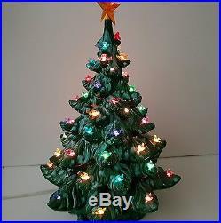 Ceramic Lighted Christmas Tree Vintage Birds