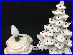Ceramic Tree Frosted White Christmas 17 With Base Red Lights Vintage