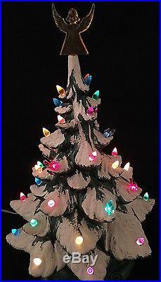 Ceramic Xmas Tree Vintage Atlantic 18 Snow Flocked Bird Lights Angel Topper