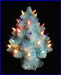 Chalkware Christmas Tree Vintage 1960 Ayers Statuary Iridescent Green & White