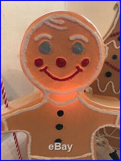 Christmas Blow Mold Gingerbread Figure Boy Girl Tree Painted Vintage Style Light