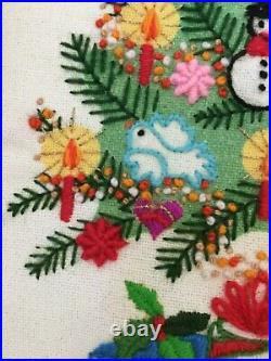 Christmas Tree Fantasy Sunset Finished Crewel Embroidery Completed Frame Vintage