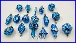 Christmas Tree Ornaments 15pcs. Magic Blue Set with Tree Top Topper vintage