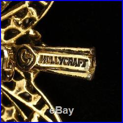 Christmas Tree Pin Vintage Multi-Color Rhinestones Hollycraft Xmas Brooch