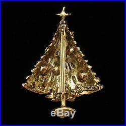 Christmas Tree Pin Vintage Rhinestones Brooch Xmas Hollycraft
