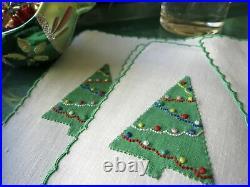 Christmas Tree Vintage Marghab Madeira Embroidery Cocktail Napkins Set of 6