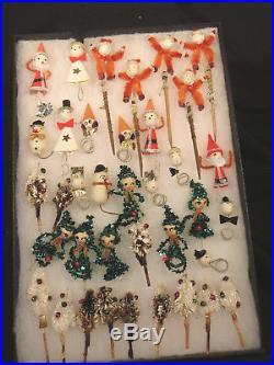 Christmas Vintage Chenille Pipe Cleaner Picks Japan Lot 37 Pc. Santa Trees Elves