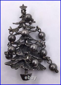 Cini Sterling Xmas Tree Pin Vintage (s441)