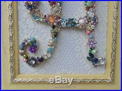 Cottage Shabby Vintage Jewelry Framed Christmas Tree INITIAL A Letter