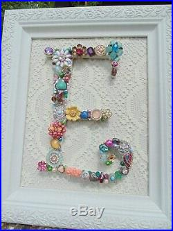 Cottage Shabby Vintage Jewelry Framed Christmas Tree INITIAL E Letter