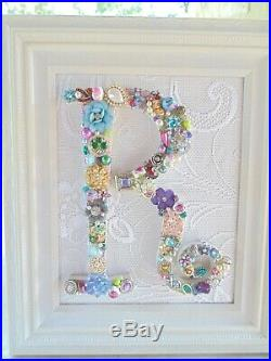 Cottage Shabby Vintage Jewelry Framed Christmas Tree INITIAL R Letter