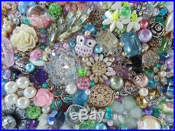 Cottage Shabby Vintage Jewelry Framed Christmas TreePURPLE StarPink Flowers