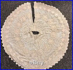Crocheted Christmas Tree Skirt 51 Diameter Victorian Lined Cotton Vintage