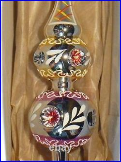 Czech vintage style blown glass Christmas tree topper with stork on chimney