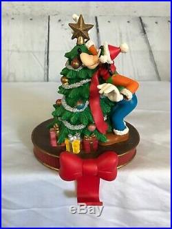 DISNEY Goofy Christmas Stocking Holder Hanger Decorating Tree Star Bow VTG RARE