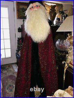 Dan Dee Santa 9 Foot Tree Topper Large Face and Long Red Ornate Robe Vintage