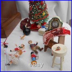 Diorama Christmas Palor Miniature Room Tree Lighted Dollhouse Vintage Ooak 38 Pc