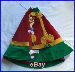 Disney Store Vintage Christmas Tree Skirt Mickey Donald Goofy Pinocchio
