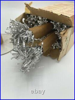 EVERGLEAM Silver ALUMINUM XMAS Tree 2 FT TALL IN ORG. BOX Complete Pom Pom VTG