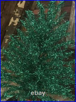 Early 1960's Green Aluminum Christmas Tree Mid Century Vintage Rare Color