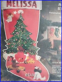 Edna Looney Jeweled Christmas Stocking Kit 1F70 Christmas Tree Giifts Vtg MCM