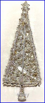 Eisenberg Ice 4 Signed Christmas Tree Pin Brooch Vintage Rhinestones