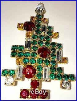 Eisenberg Ice Christmas Tree Pin Brooch Vintage Signed Rhinestones 5 Candle