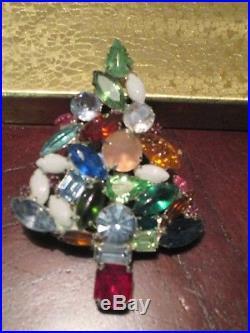 Eisenberg Ice Huge Christmas Tree Pin Brooch Vintage Signed Rhinestones CKITOUT