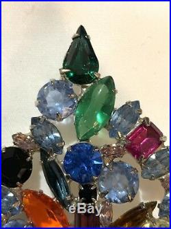 Eisenberg Ice Large Signed Christmas Tree Pin Brooch Vintage Rhinestones