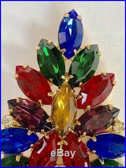 Eisenberg Ice Large Signed Vintage Christmas Tree Pin Brooch Rhinestones
