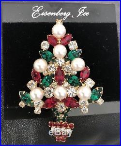 Eisenberg Ice New Old Stock Vintage Christmas Tree Pin Brooch