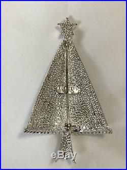 Eisenberg Ice Signed Christmas Tree Pin Brooch New Vintage Blue Rhinestones
