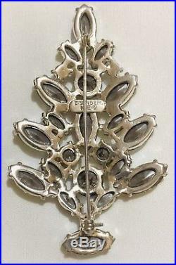 Eisenberg Ice Signed Christmas Tree Pin Brooch Vintage Borealis Rhinestones