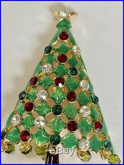 Eisenberg Ice Signed Dangle Rhinestones Vintage Christmas Tree Pin Brooch