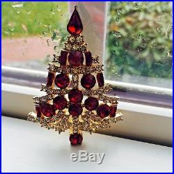 Eisenberg Ice Signed Red Unusual Vintage Christmas Tree Pin Brooch Rhinestones