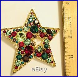 Eisenberg Ice Vintage Large Signed Christmas Tree Rhinestone Star Brooch Pin