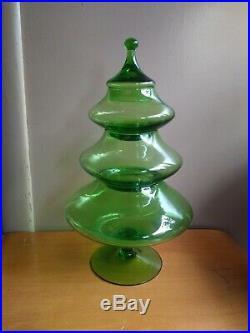 Empoli Glass Green Circus Tent Stacking Christmas Tree Candy Dish Vintage EUC