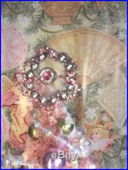 Fabulous 13 Pink Bottlebrush Xmas Tree Mica Flocked Vtg Glass Ornaments Jewels