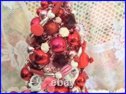 Fabulous Valentine's Day Bottlebrush Tree Vtg Xmas Ornaments Mercury Glass Base