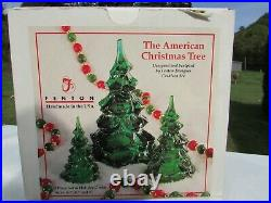 Fenton Glass Holiday Green Christmas Tree Vintage Set of 6.5H-4.25H-3H MIB
