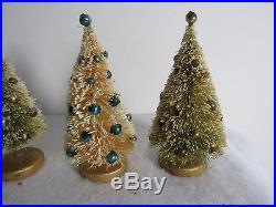 Four Vintage 1950's Bottle Brush Christmas Trees With Mercury Glass Ornaments