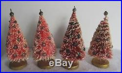 Four Vintage 1950's Pink Bottle Brush Xmas Trees With Mercury Glass Ornaments