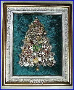 Framed Vintage Pearl & Rhinestone Jewelry Art On Velvet, Christmas Tree