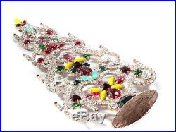 Free standing Czech vintage rhinestone Christmas tree ornament yellow red clear