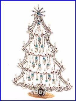 Free standing X large Czech AB glass rhinestone vintage Christmas tree ornament