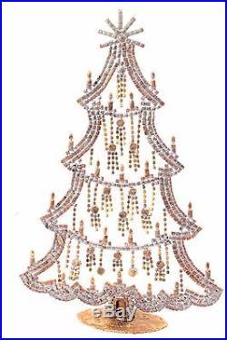 Free standing X large Czech AB glass rhinestone vintage Christmas tree ornament