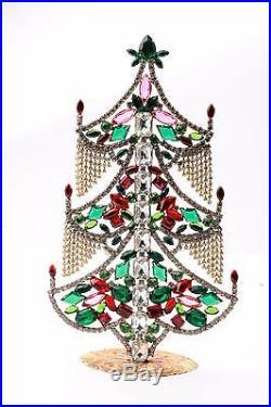Free standing X large glass rhinestone Czech vintage Christmas tree ornament