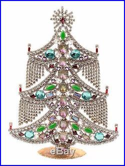 Free standing X large glass rhinestone Czech vintage Christmas tree ornament C