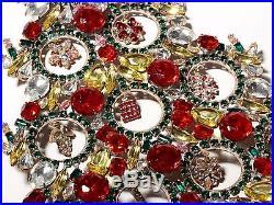 Free standing X large glass rhinestone Czech vintage Christmas tree ornament a