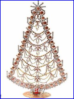 Free standing X large glass rhinestone Czech vintage Christmas tree ornament red